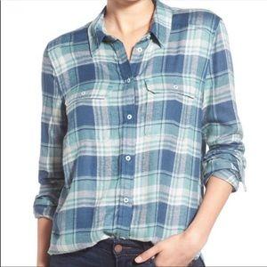 PAIGE Louisville Blue Teal Plaid Button Down Shirt
